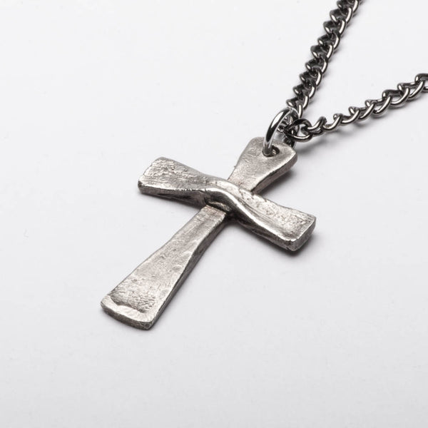Christian Cross Vintage Style Pendant Necklace Sterling Silver Front
