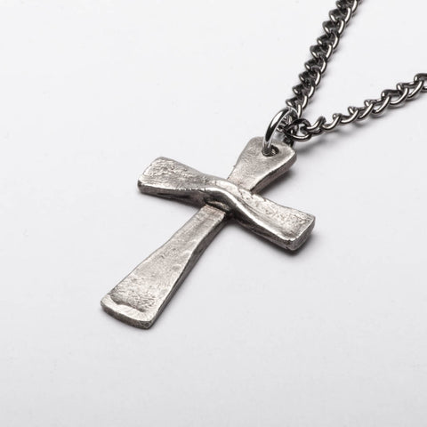 Christian Cross Vintage Style Pendant Necklace Sterling Silver Handmade