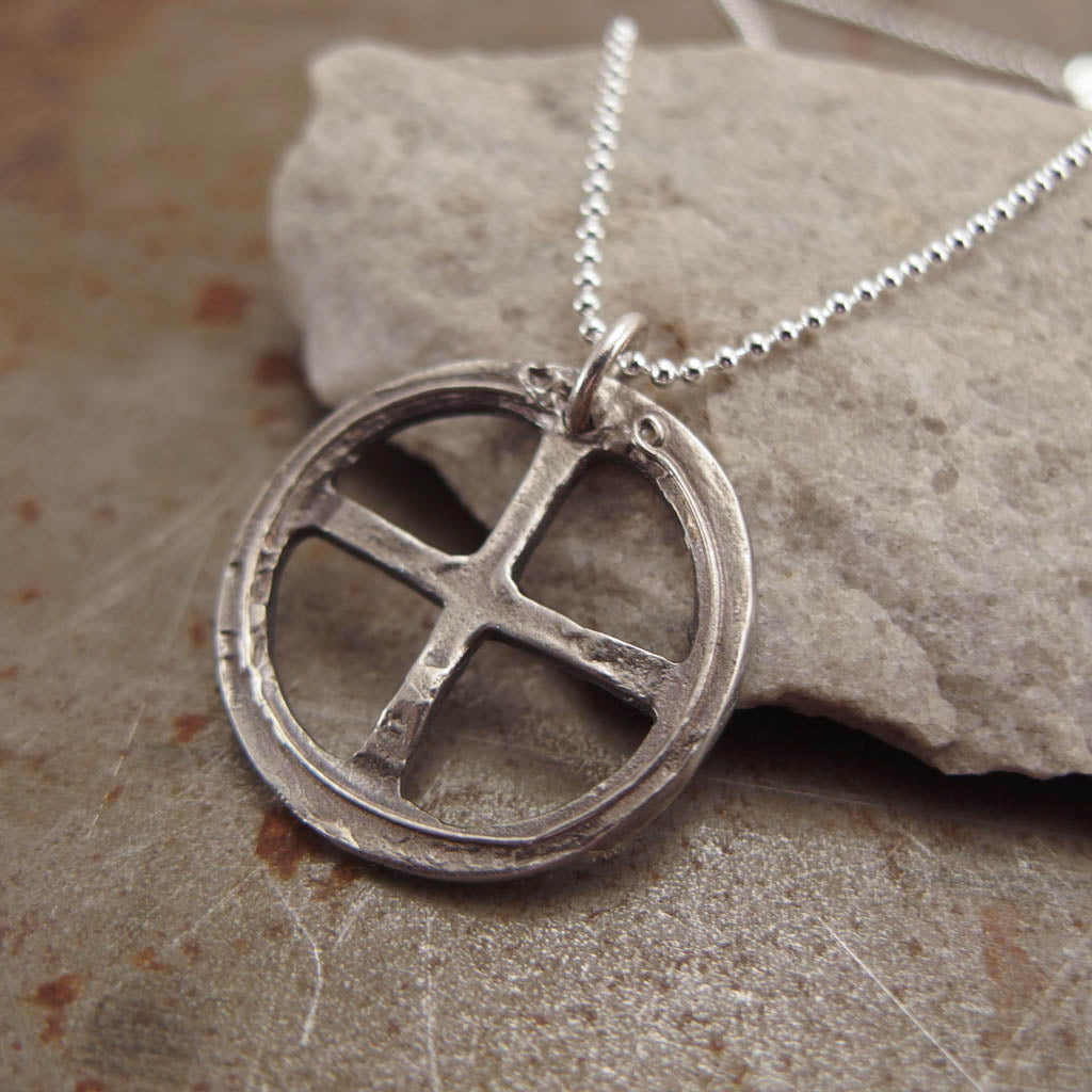 Celtic Cross Silver Pendant Necklace Right