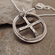 Celtic Cross Silver Pendant Necklace Left