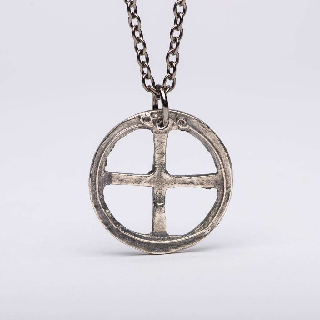 silver large cross pendant celtic handmade