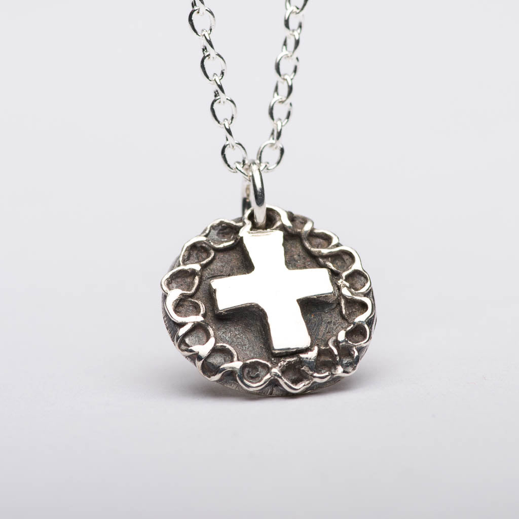 Cross Rose Silver Pendant Necklace Front