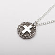 Cross Rose Silver Pendant Necklace Side