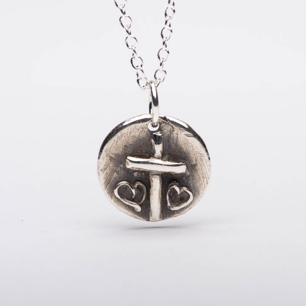 Cross Two Hearts Silver Pendant Necklace Front