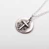 Cross Two Hearts Silver Pendant Necklace Right