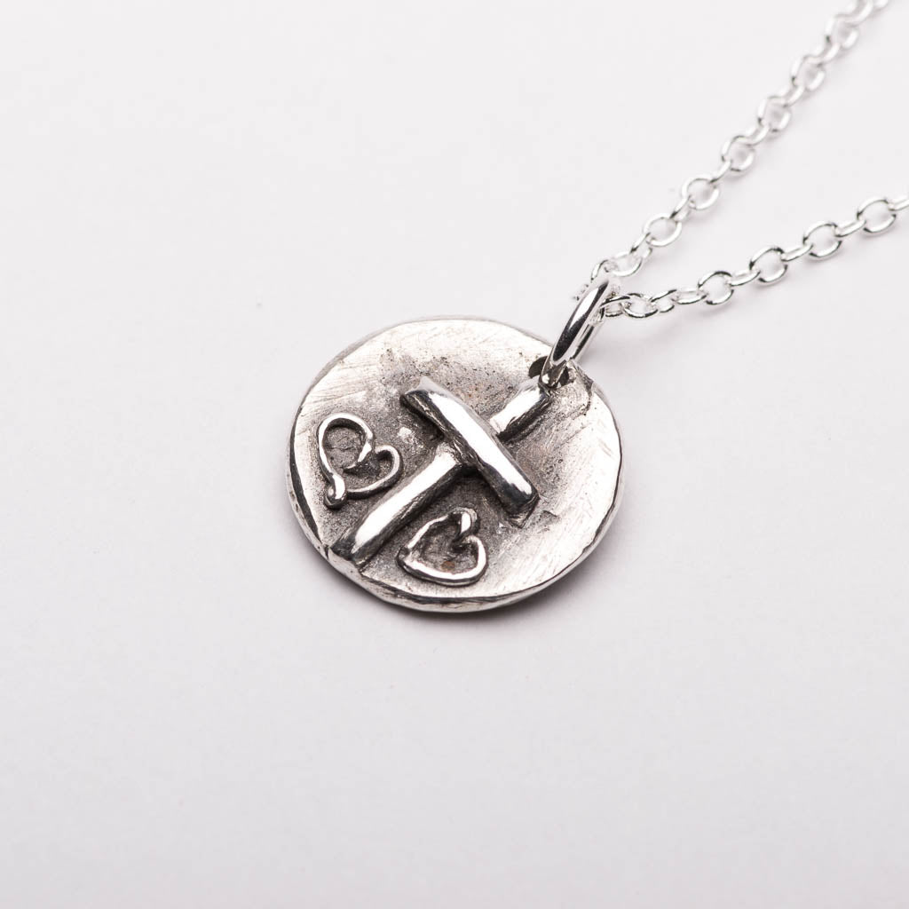 Cross double hearts pendant necklace sterling silver handmade cross two hearts silver pendant necklace right mozeypictures Image collections