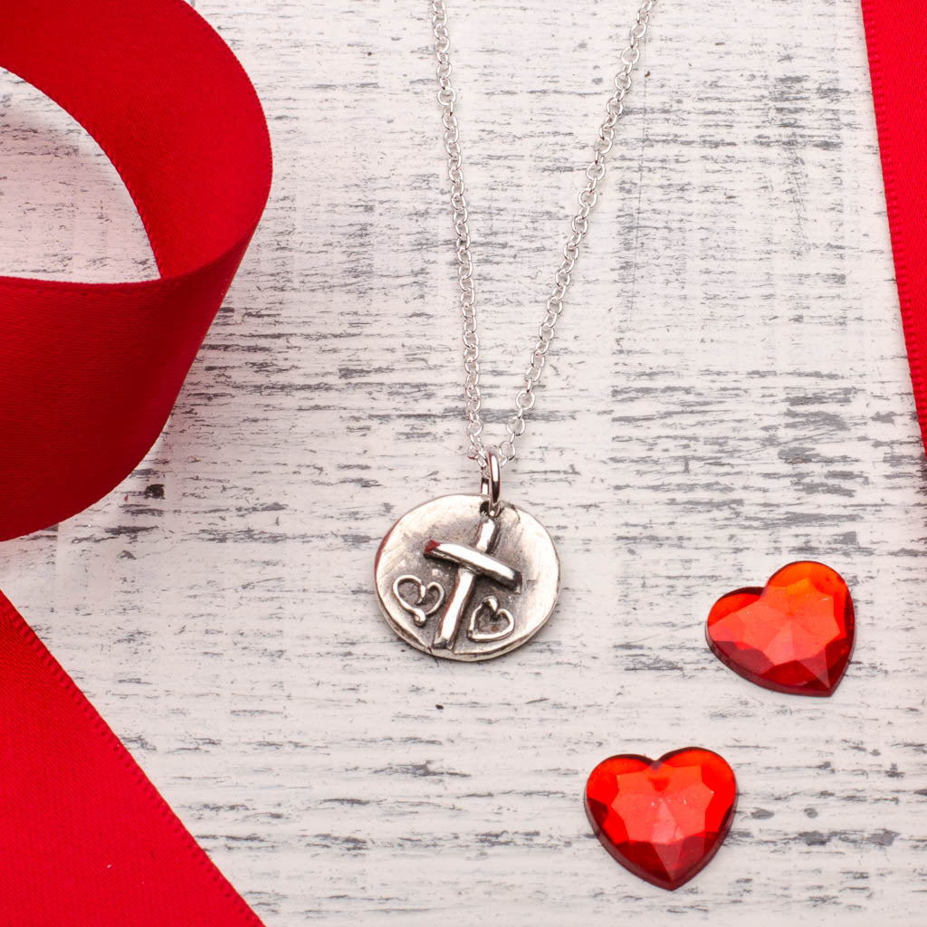 Cross Two Hearts Silver Pendant Necklace Valentines Day