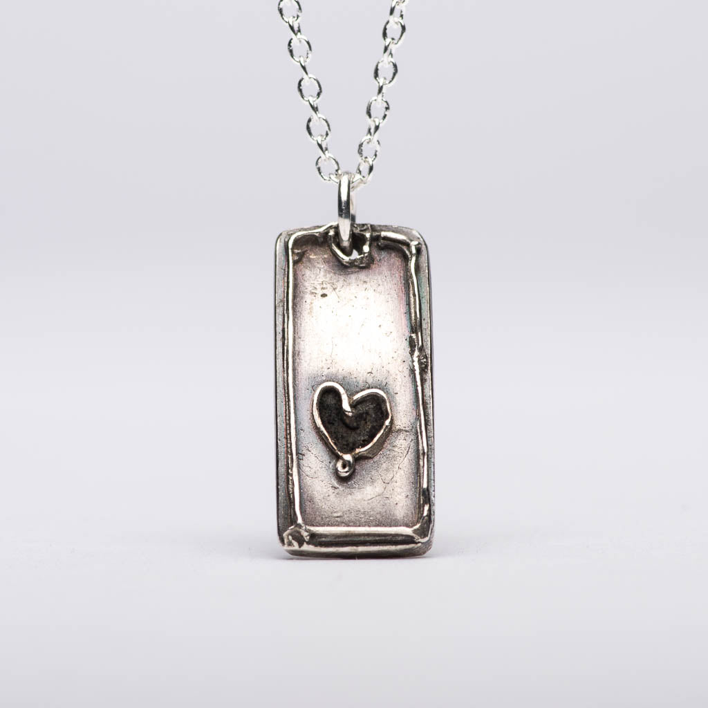 Elegant Heart Tag Silver Pendant Necklace Front