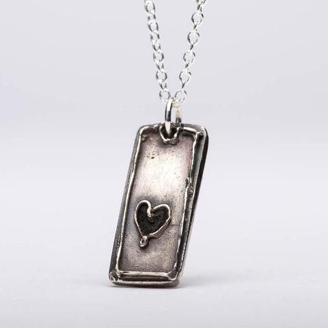 Elegant Heart Tag Pendant Necklace Sterling Silver Handmade Women Jewelry