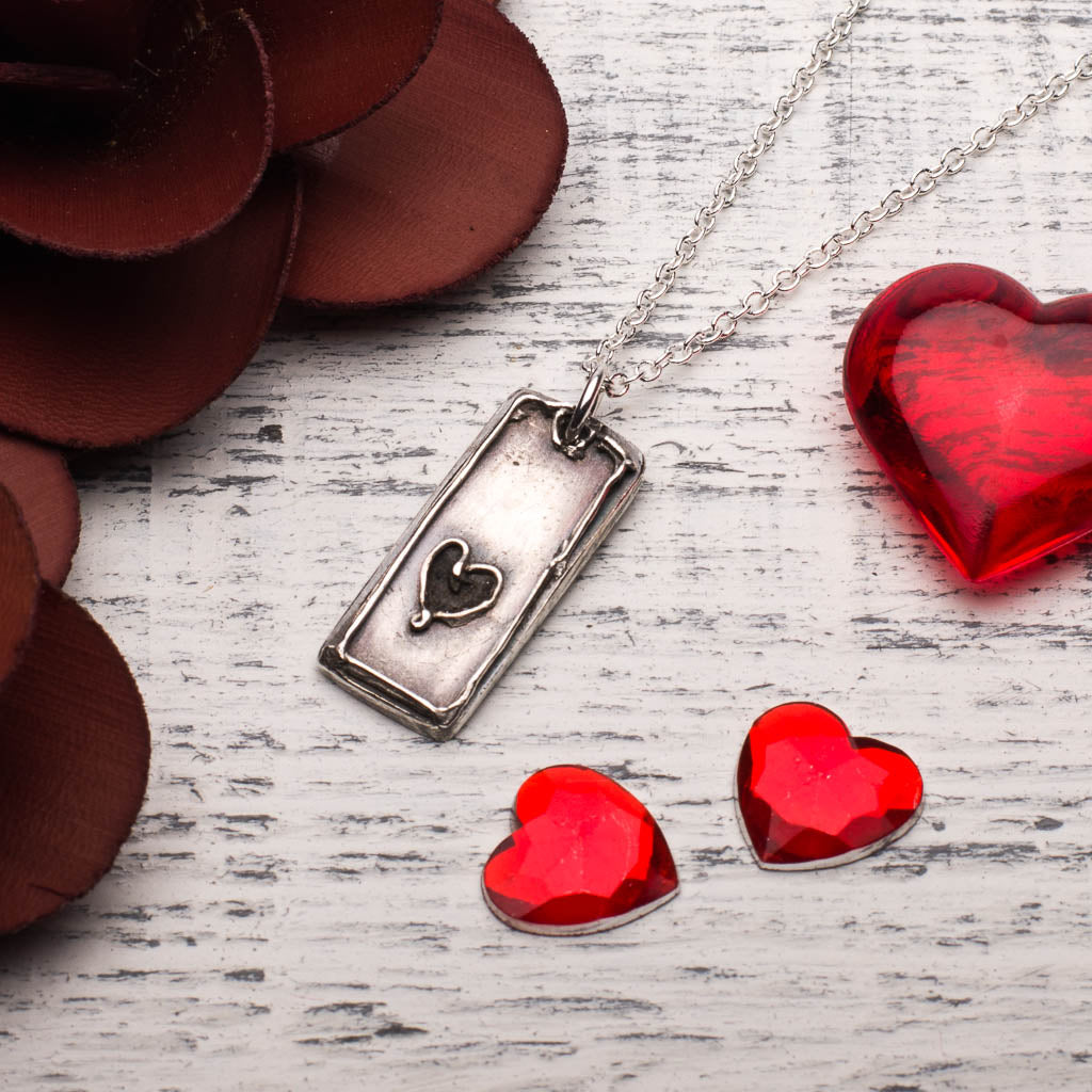 Elegant Heart Tag Silver Pendant Necklace Valentines Day