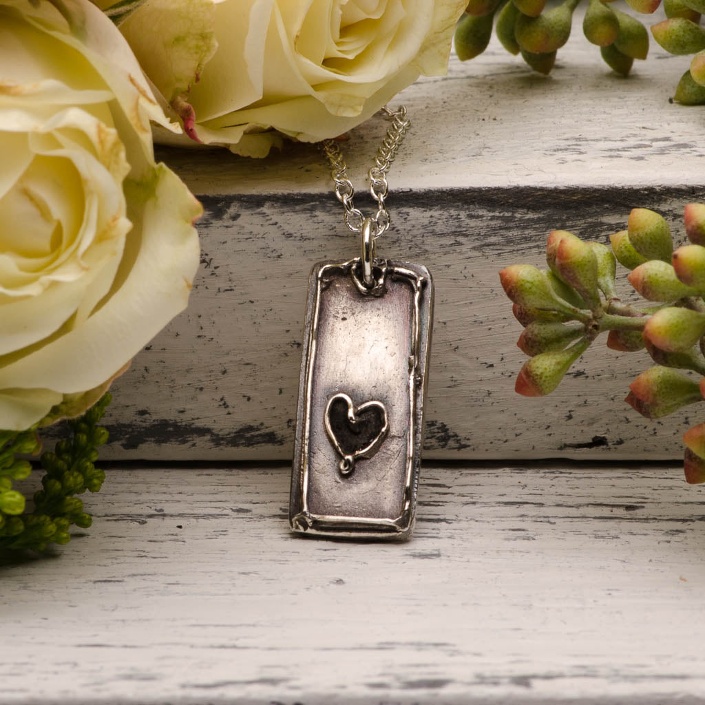 Elegant Heart Tag Silver Pendant Necklace Mothers Day