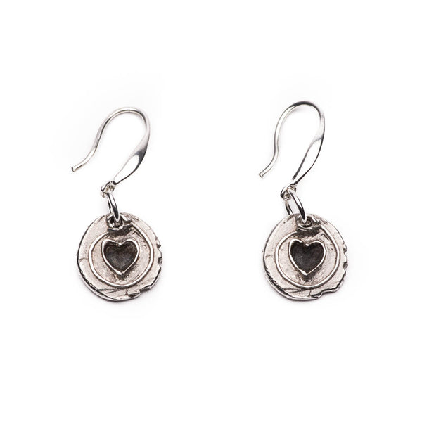 Heart Charms Silver Drop Earrings Front