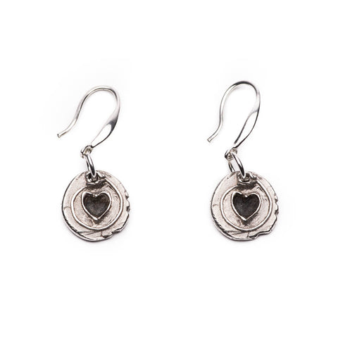 Heart Charms Drop Earrings Sterling Silver Handmade Women Jewelry