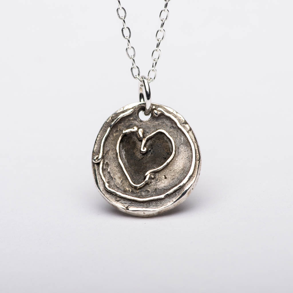 Heart Charms Silver Pendant Necklace Front