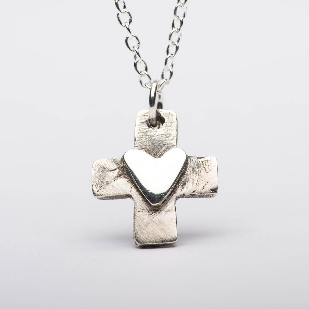 Heart On Cross Silver Pendant Necklace Front