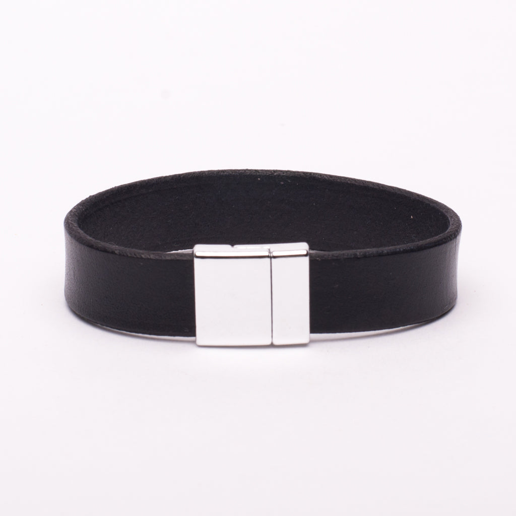 Bracelet Black Leather Silver Magnetic Clasp