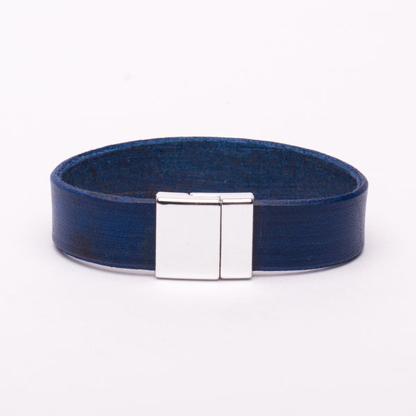 Bracelet Blue Leather Silver Magnetic Clasp