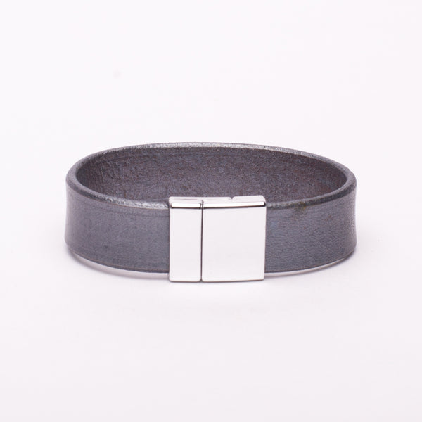 Bracelet Silver Leather Silver Magnetic Clasp