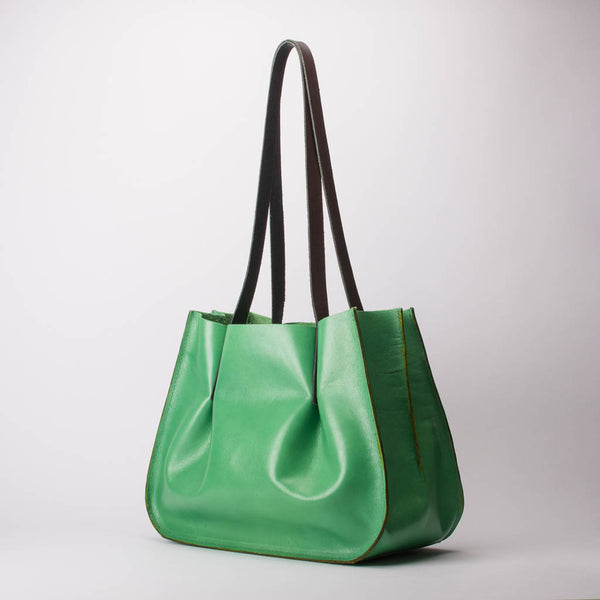 Leather Handbag Carryall Shoulder Tote Bag Dimples Lime Green Medium Handmade