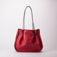 Leather Handbag Carryall Shoulder Tote Bag Dimples Red Medium Handmade