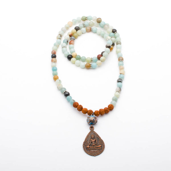 Mala Beads Necklace Amazonite Gemstones Rudraksha Inspirational Jewelry Tree of Life
