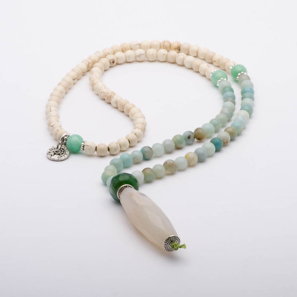 Mala Beads Necklace Amazonite Howlite Gemstones Inspirational Jewelry Reverie