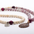 Mala Beads Necklace Matte Rhodonite Howlite Gemstones Inspirational Jewelry High Spirit