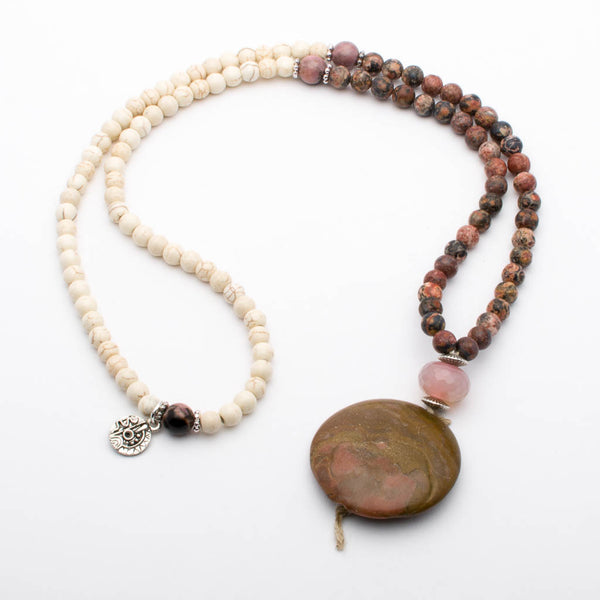 Mala Beads Necklace Rhodonite White Howlite Gemstones Inspirational Jewelry Higher Love