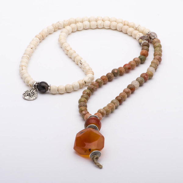 Mala Beads Necklace Unakite White Howlite Gemstones Inspirational Jewelry Amber Love
