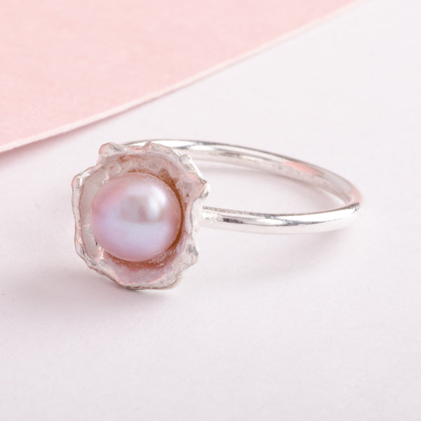 Oyster Silver Ring Pink Cultured Pearl