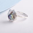 Oyster Silver Ring Purple Blue Cultured Pearl