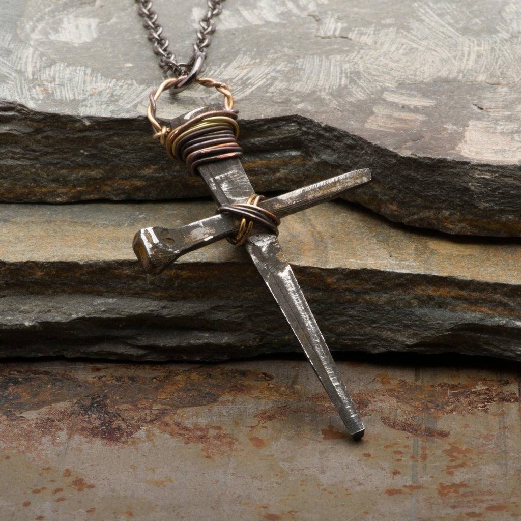 Rusty Nails Cross Necklace Medieval Pendant