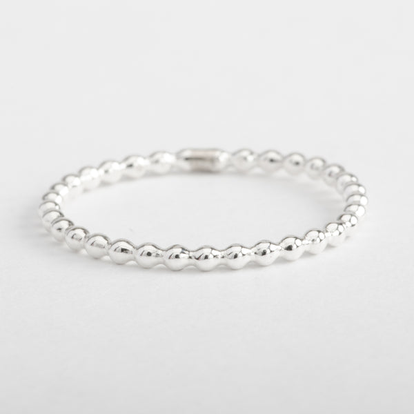 Silver Ring String of Beads Stackable