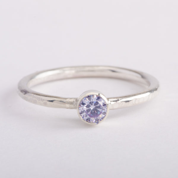 Silver Ring Hammered Band Lavender Zircon Gemstone Stackable