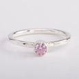 Silver Ring Hammered Band Pink Ice Zircon Gemstone Stackable