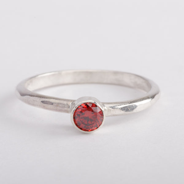Silver Ring Hammered Band Red Zircon Gemstone Stackable