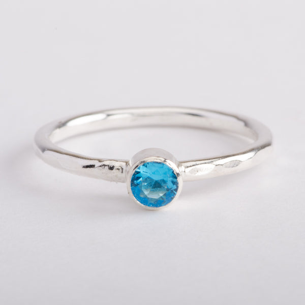 Silver Ring Hammered Band Topaz Blue Zircon Gemstone Stackable