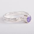 Silver Ring Braided Band Amethyst Zircon Gemstone Stackable
