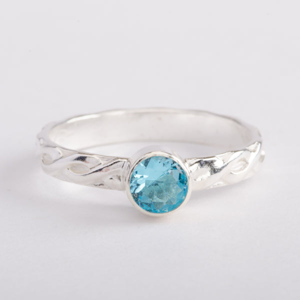 Silver Ring Braided Band Aquamarine Zircon Gemstone Stackable