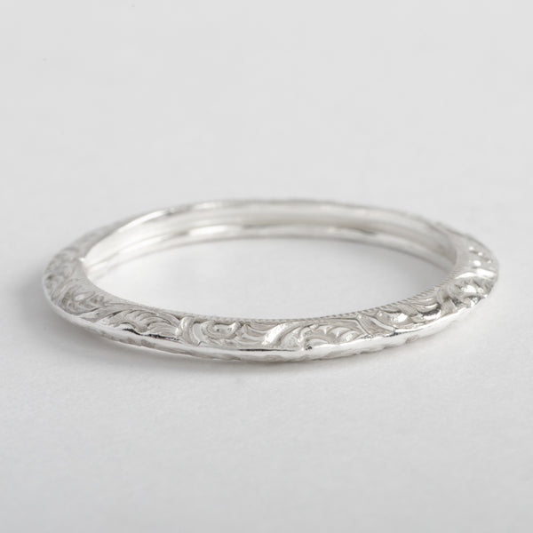 Silver Ring Triangular Floral Stackable