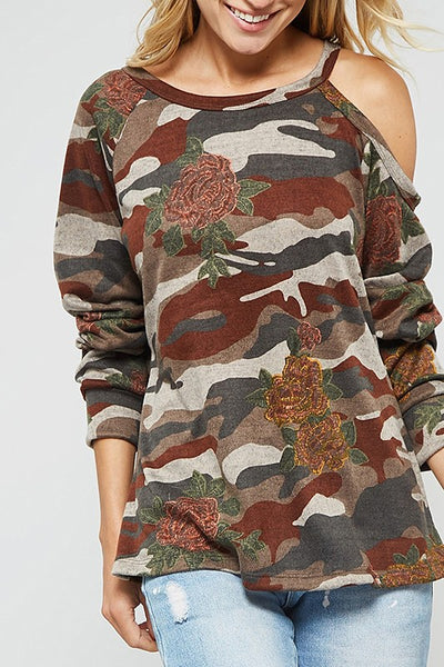 FLORAL CAMO SWEATSHIRT W ONE SHOULDER OPEN N CUFF