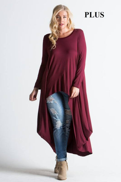 Cardinal Red high low plus size shirt