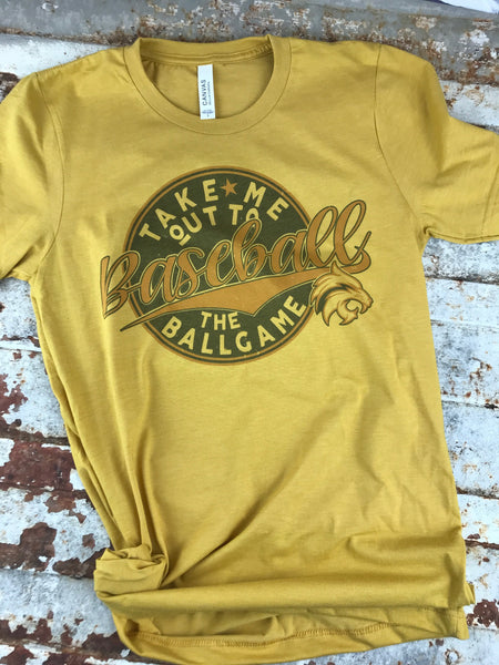 Sublimation vegas gold and black print on 50/50 tee with mascot added