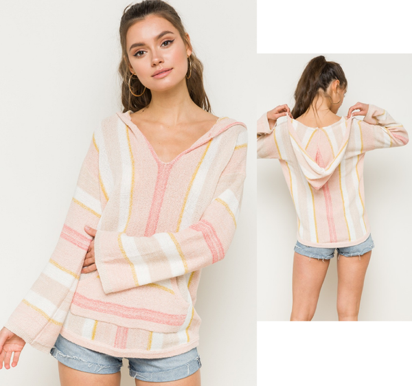MULTI COLOR STRIPED V NECK HOODIE SWEATER PULLOVER