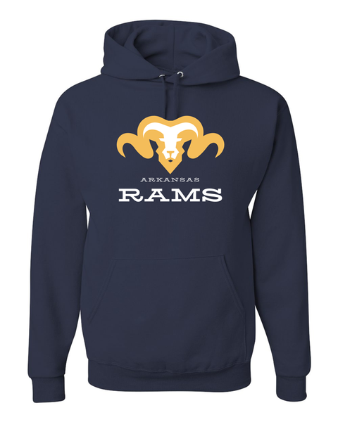 Hoodies with Rams logo in white and gold