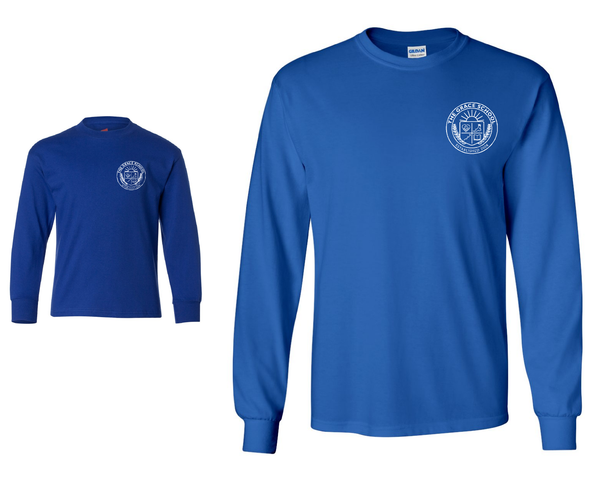 TGS Long Sleeve tee - Royal Blue -  printed in white ink