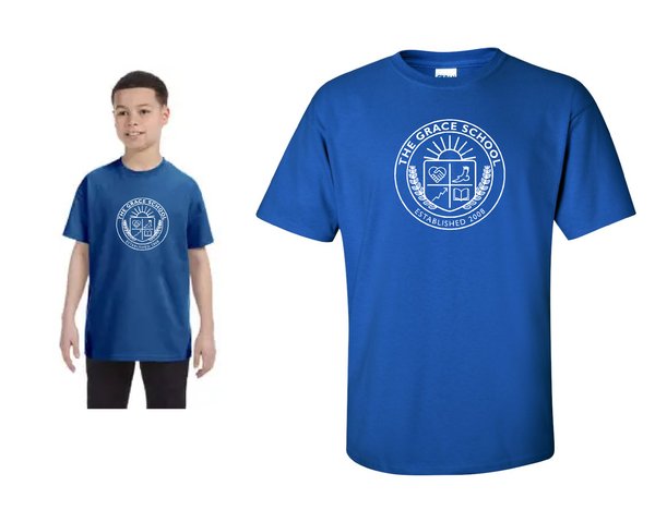 TGS Crew Neck short sleeve tee - Royal Blue - printed left chest in white ink