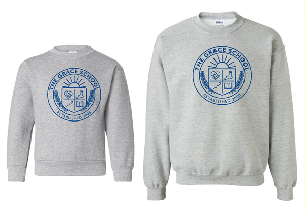TGS Crew Neck Sport Grey Sweatshirt printed in Navy Blue