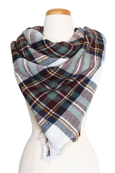 Plaid Pattern Blanket Scarf