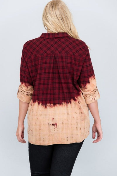 PLUS Dip-dye checkered flannel shirt.